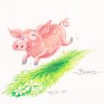 Schwein Bruno mag es lieber gemütlich und langsam.